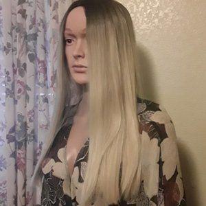 🆕BOGO Ombre Brown to Ash Blonde Wig Middle Part
